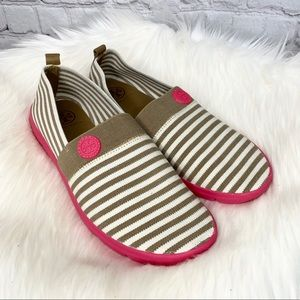 Tory Burch Micah Striped Canvas Sneakers Loafers